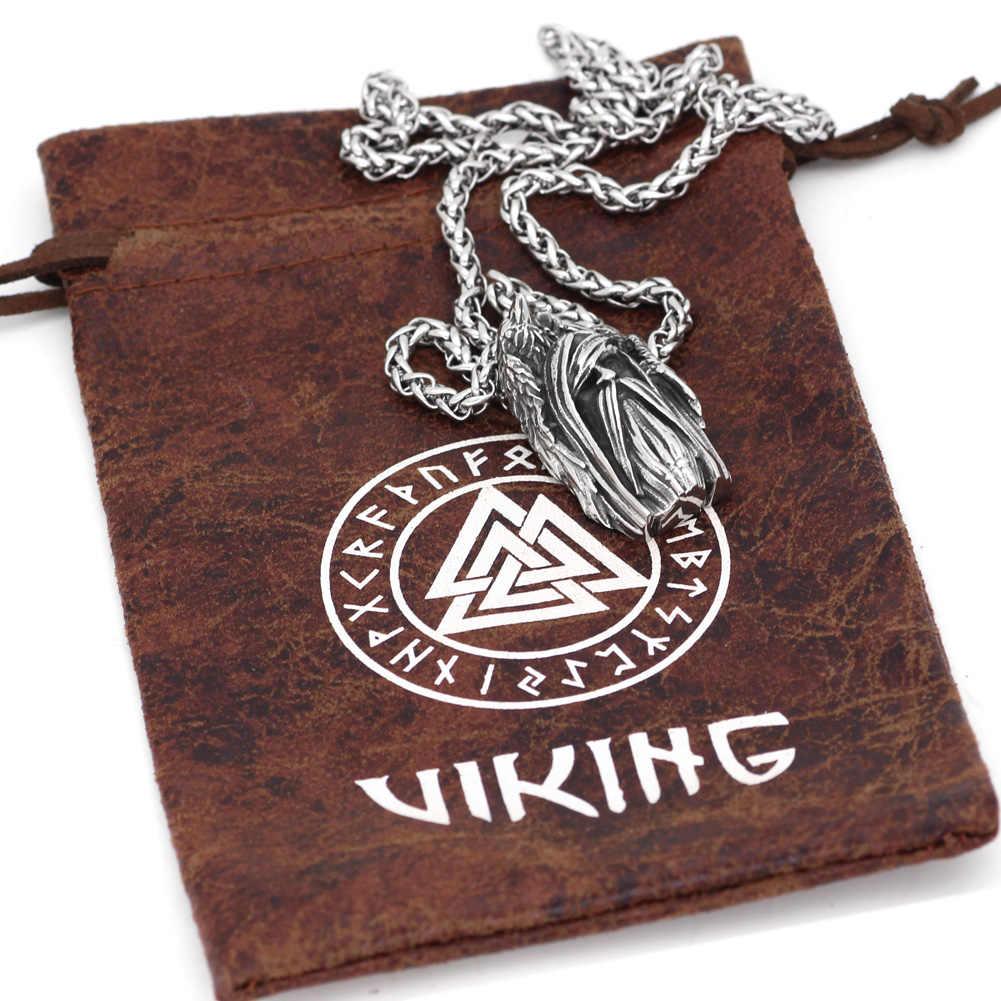 Nordic Viking amulet odin gezicht wolf Geri en Freki Amulet Rvs Ketting met Valknut Rune Gift Bag