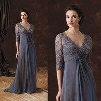 Элегантный кружева аппликация половина рукава шифон мама невесты платья плюс размер мать вечерние платья