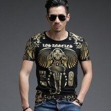 2016 straße kultur neue mode für männer t-shirt marke gilt schöner mann kurzarm T-shirt slim luxus