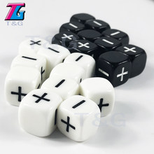 "Brand New 10pcs/lot 2 Color 16mm Fate or Fudge Dice ,""+"" ""-"" White and Black blank faces for Special Board Game(China)"