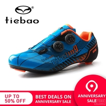 Купить с кэшбэком TIEBAO Professional Road Carbon Cycling Shoes Road Bike Bicycle Shoes Women Men Carbon Outsole Bike Shoes Athletic Shoes Racing