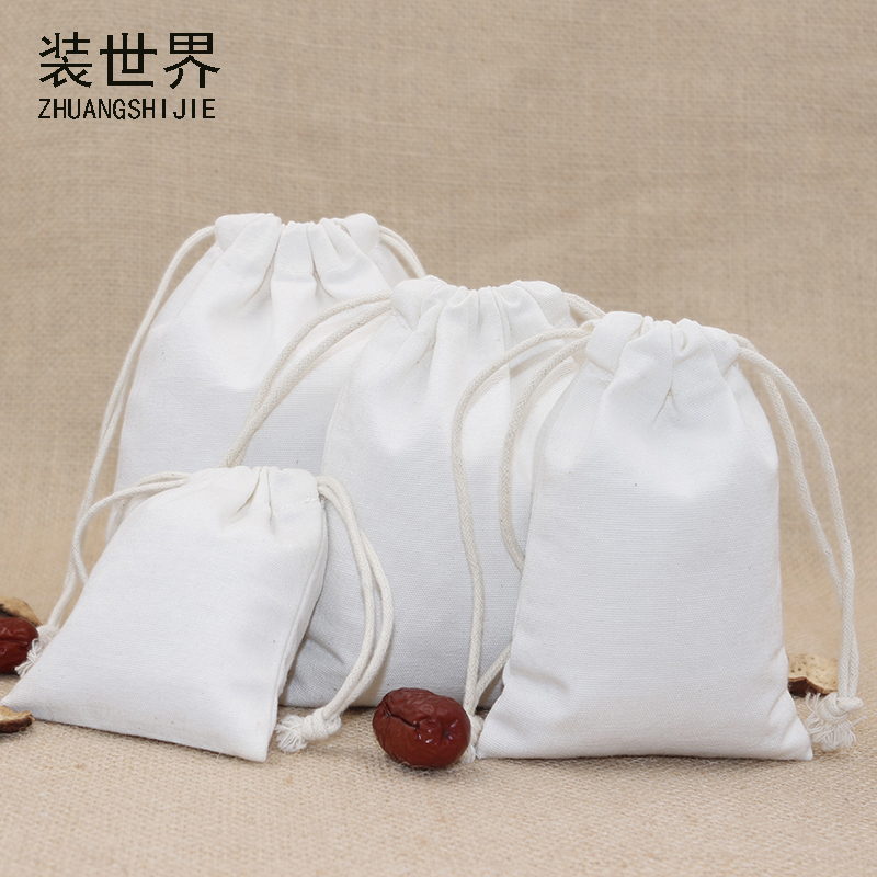 5pcs/lot 13*16cm Canvas Bag Pouch Wholesale Custom Logo Print Factory Drawstring Food Cloth Gift Bags Packing Bags