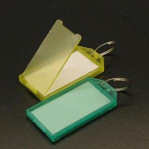 Image 4 - جديد 50 قطعة حلقة معدنية ملونة البلاستيك مفتاح Fobs الأمتعة بطاقة الهوية تسمية الاسم العلامة كيرينغ المفاتيح تصنيف سلسلة مفاتيح
