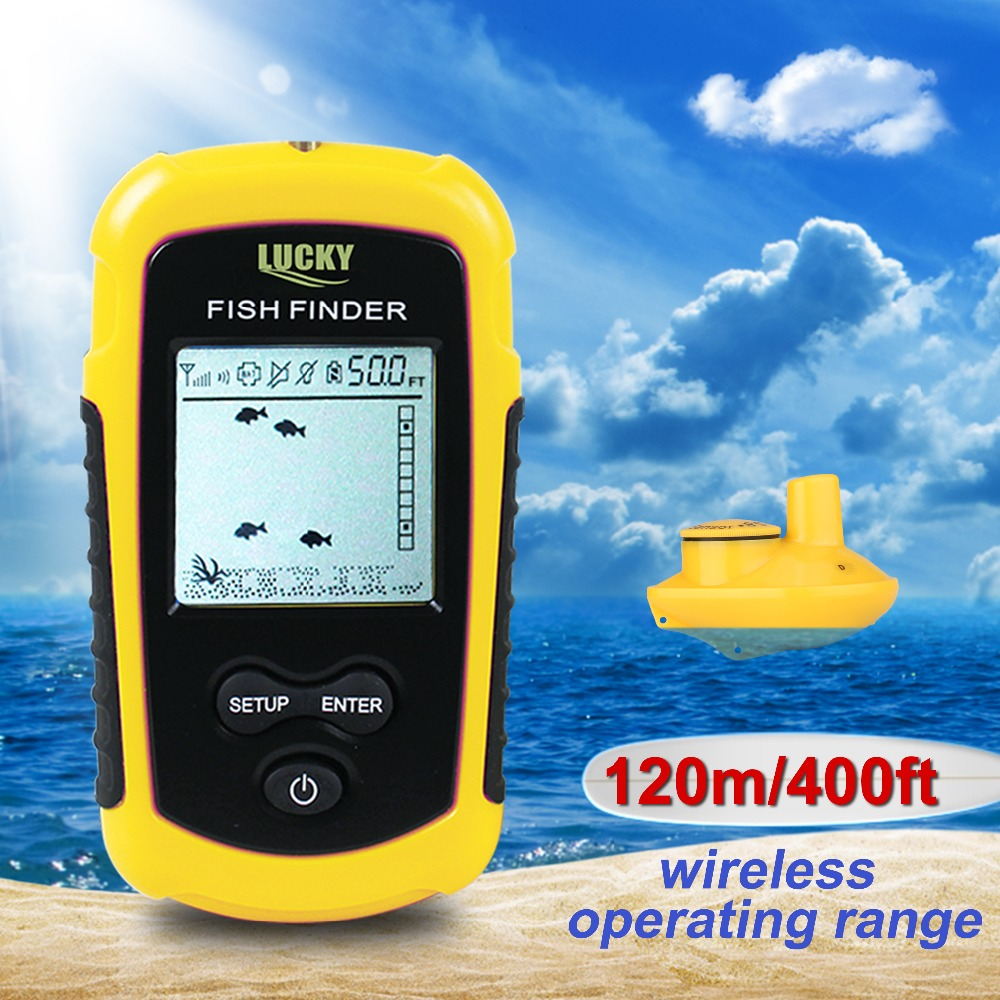 Fishing lucky ffw1108 1 wireless fish finder sonar for Fish finder depth finder