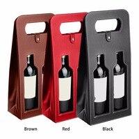 Wysokiej jakości pudełko wina ze sztucznej skóry tłumnie tkaniny dual pustych butelek wina torby do pakowania czarny brązowy czerwony drop shipping
