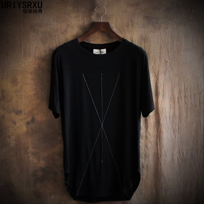 2018 Undertale The Summer Irregular Thin Line Loose Round Collar Short Sleeve T-shirt Tide Male T-shirts Unlined Upper Garment