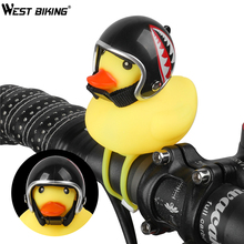 WEST BIKING 1 Pcs MTB Road Bike Bell Little Yellow Duck with Helmet Bicycle Handlebar Lamp Horn Accessories