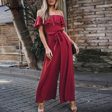 Simplee Elegant off shoulder women long jumpsuit Summer ruffles sashes chiffon black jumpsuit Sexy party wide leg female overall