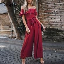 Simplee אלגנטי כבוי כתף נשים ארוך סרבל קיץ ראפלס sashes שיפון שחור סרבל סקסי מסיבת רחב רגל נקבה כולל