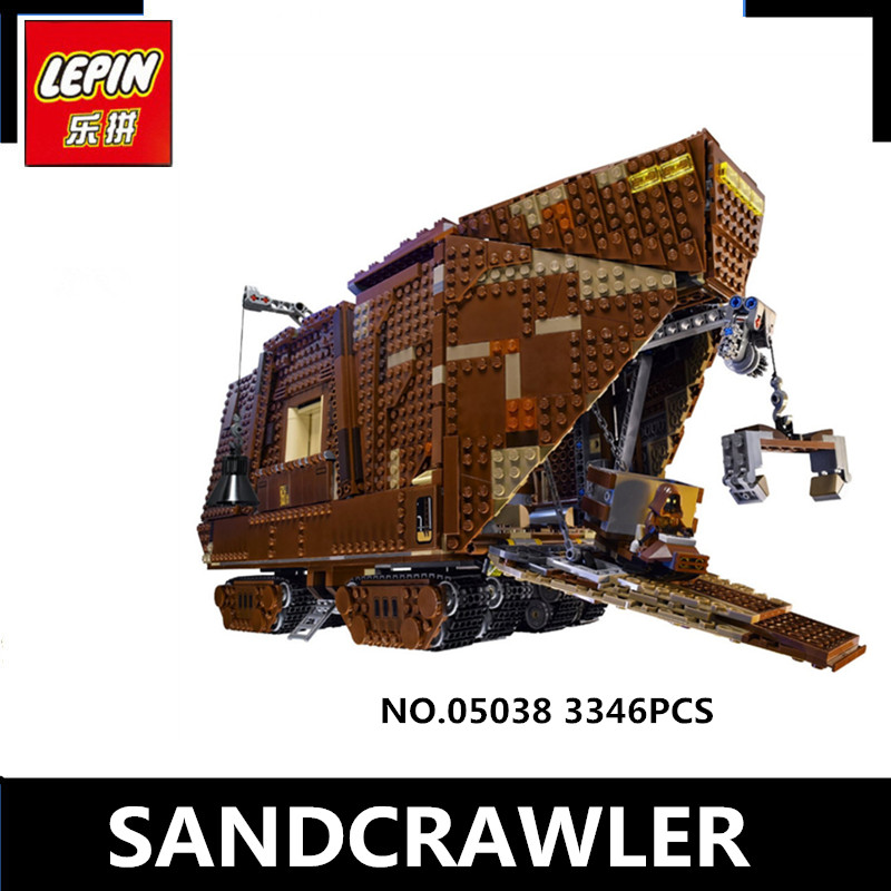 IN STOCK LePin 05038 3346Pcs  Star Force Awakens Sandcrawler Wars Model Building Kit Blocks Brick Compatible 75059 Children Toy