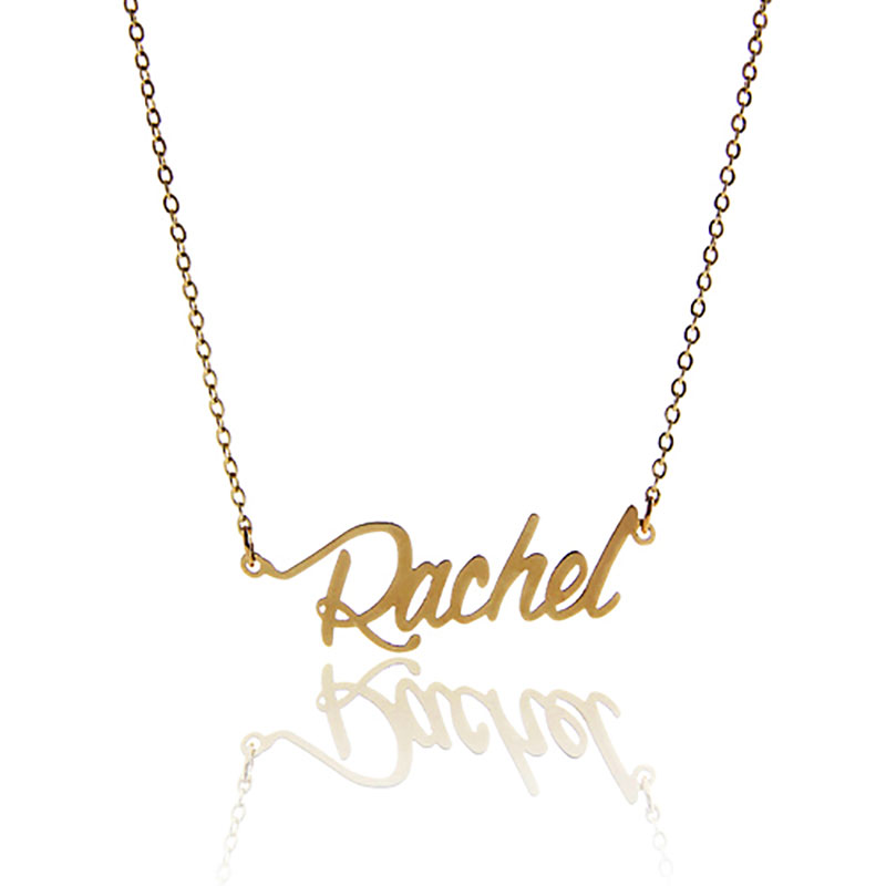 "AOLOSHOW Name Necklace for Women Carrie "" Rachel "" Gold Color Stainless Steel Pendant Nameplate Satement Letter Necklace NL-2406"