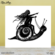 ZhuoAng  Beautiful Snail and Girl Transparent Silicone Stamp / DIY Scrapbook Album Decoration Seal