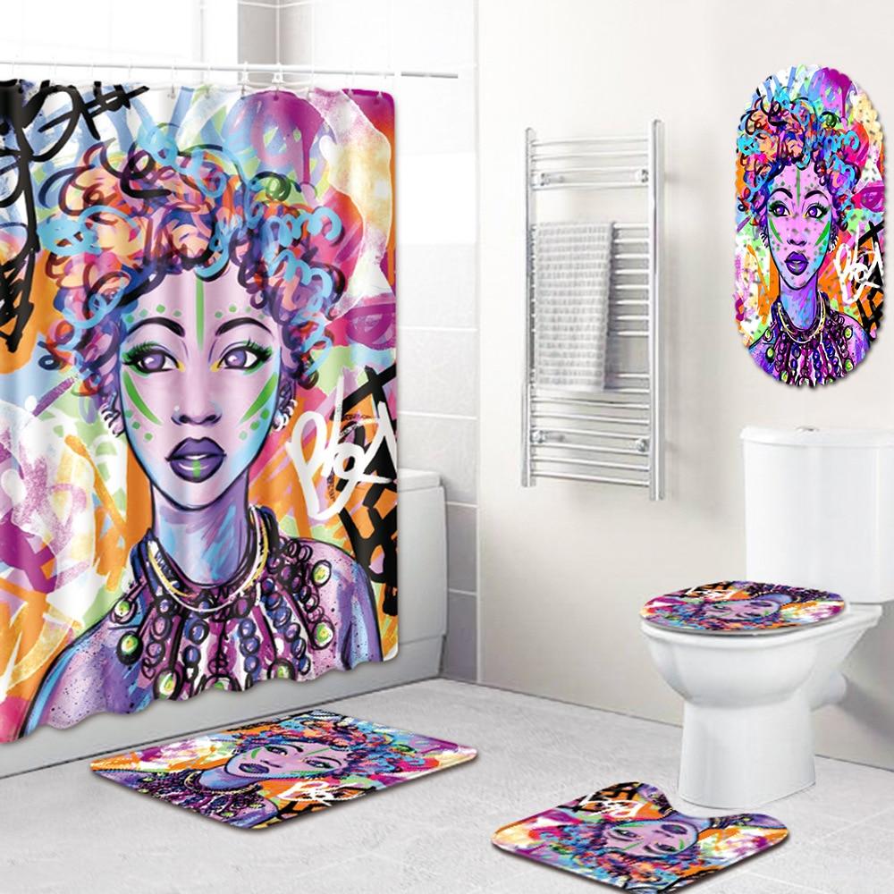 2019 New 5 Pcs African American Women Shower Curtain Bath