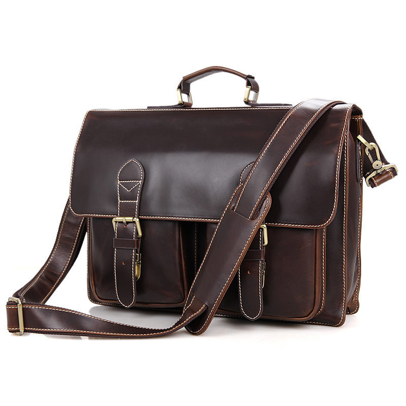 Genuine Cow Leather Men Briefcase Business Handbag Travel Bag Fit 15 inch Laptop With Removable computer Compartment PR007105 vintage 100% natural genuine leather bag big volume 3 layers men leather handbag 15 laptop bag briefcase soft cowskin handbags