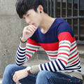 Winter Men's Knitted V Neck Long Sleeve Patchwork Slim Pullover Brand Clothing Pull Homme Christmas Shirt L3