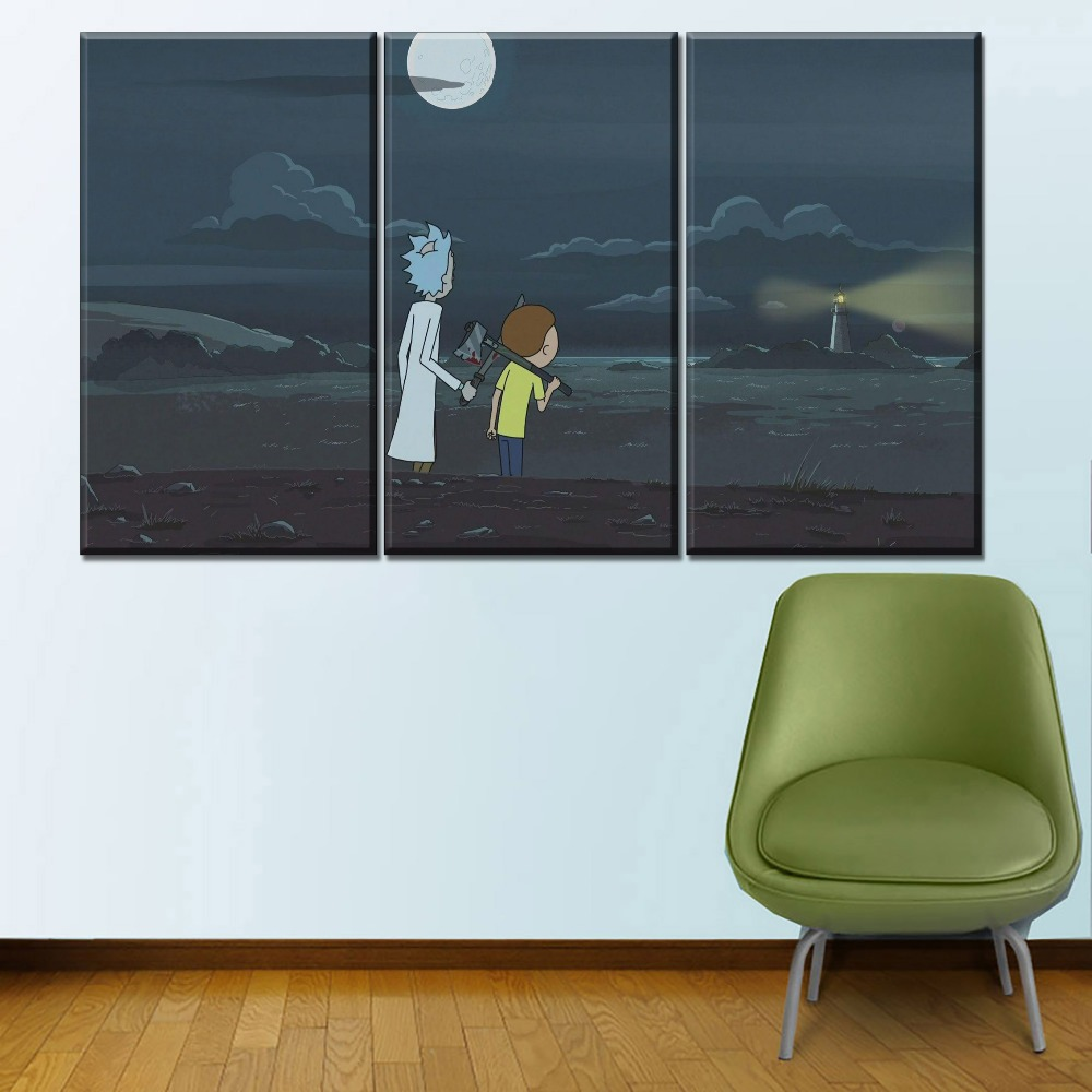 Anime TV Show Poster 3 Panel Modular Art Style Picture Modern Home Decorative Kids Room Wall Canvas Print Rick and Morty Poster image