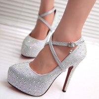 2017 femmes haute talons de bal chaussures de mariage lady cristal plates-formes argent Glitter strass chaussures de mariée talon mince pompe parti 118