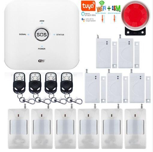 Yobang WIFI Wireless and GSM Tuya Home Burglar Intruder Security Alarm  System TUYA APP Remote Control Smoke Detector IP Camera
