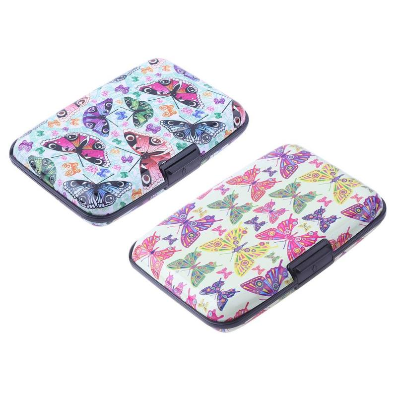 Butterfly Pattern 7 Layers Card Holder Box Organ Type Waterproof Aluminium Metal Business Name ID Credit Card Protective Case