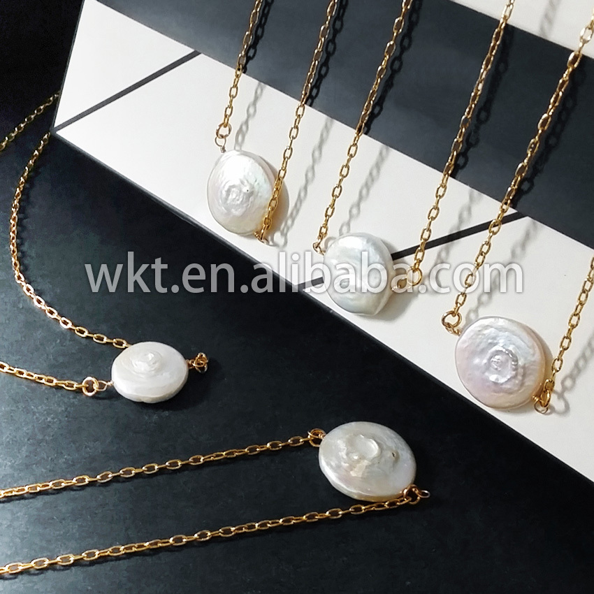 WT-N338 Wholesale Petite pearl double loops necklace,natural real - Fashion Jewelry - Photo 3