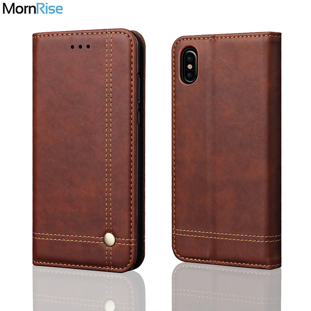 huge discount c1af6 249c4 US $4.8 35% OFF|Luxury Retro Slim Leather Flip Cover For iPhone X XR Case  Wallet Card Stand Magnetic Book Cover For iPhone Xs Xs Max Phone Cases-in  ...