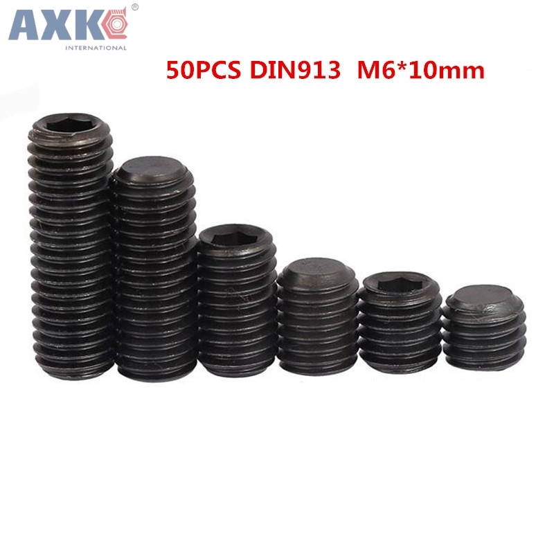 AXK 50pcs M6*10mm DIN913 Grade12.9 Alloy Steel Flat Point Grub Screws niko 50pcs chrome single coil pickup screws