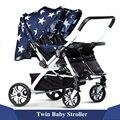 2016 New Baby Recém-nascidos Gêmeos Duplo Carrinho De Criança de Luxo Marca Dobrável Pram Kinderwagen Shockpoof Viagem Carrinhos Infantil Carriage