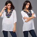 2015 New Fashion Women Vintage Floral Patchwork Soft Chiffon Blouses Half Sleeve Summer Loose Casual Shirts Tops Free Shipping