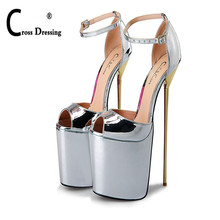 CDTS Plus:46 47 48 49 50 SUMMER Peep Toe sandals 22cm thin high heels Patent leather sexy woman shoes platforms wedding pumps