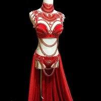 Новый женский сексуальный красный комбинезон с блестками со стразами женский певец DJ DS танцевальный костюм боди для ночного клуба шоу бики