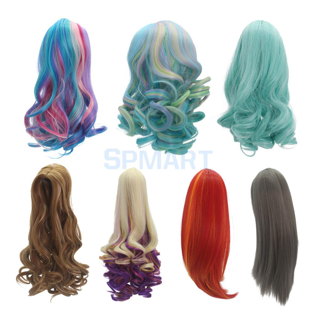 7 Options Fashion Curly/Straight Long Hair Replacement Wig for 18 American Girl Dolls DIY Making Repair Accessories