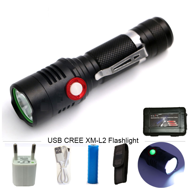USB CREE XM-L2 LED Flashlight Tactical Flashlight Powerful 8000LM Aluminum Torch  Flash Light Camping Lamp Lighting nitecore mt10a 920lm cree xm l2 u2 led flashlight torch