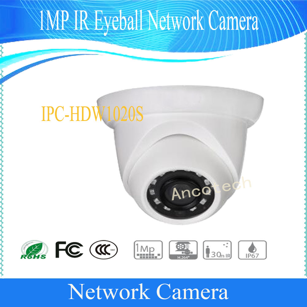 Free Shipping DAHUA CCTV Security IP Camera 1MP IR Eyeball Network Camera With POE IP67 Without Logo IPC-HDW1020S free shipping dahua cctv camera 4k 8mp wdr ir mini bullet network camera ip67 with poe without logo ipc hfw4831e se