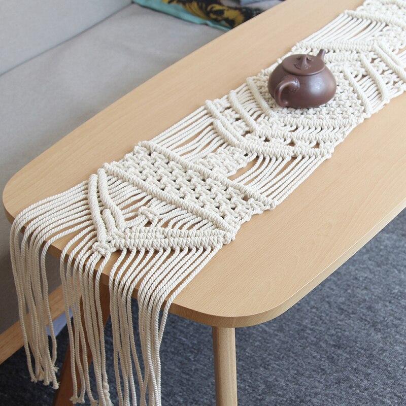 25cm x 155cm Macrame Northern European American Bohemian hand woven rope table decor bed decor Shoe
