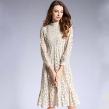 2018 Fall New Long Sleeve Temperament Lady Lantern Sleeves Ruffled Lace Dress vestidos