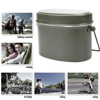 New Outdoor Camping Army Green Lunch Box Aluminum Mountaineering German Lunch Box Portable Cooker Picnic Heating Student