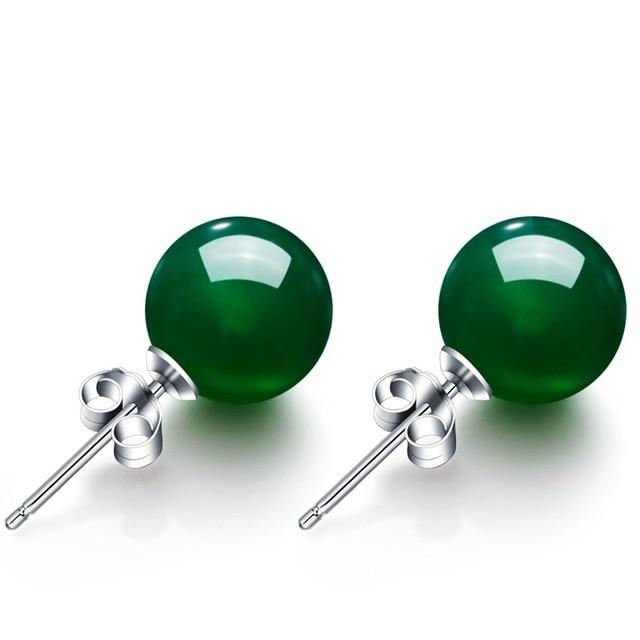 6-8mm Rotonda Naturale Agata Verde Orecchini Per Le Donne S925 Sterling Silver V