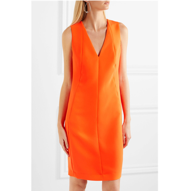Summer Sleeveless Dress 2019 New V neck Elegant Work Dress Office Lady Fashion Orange Sheath Slim