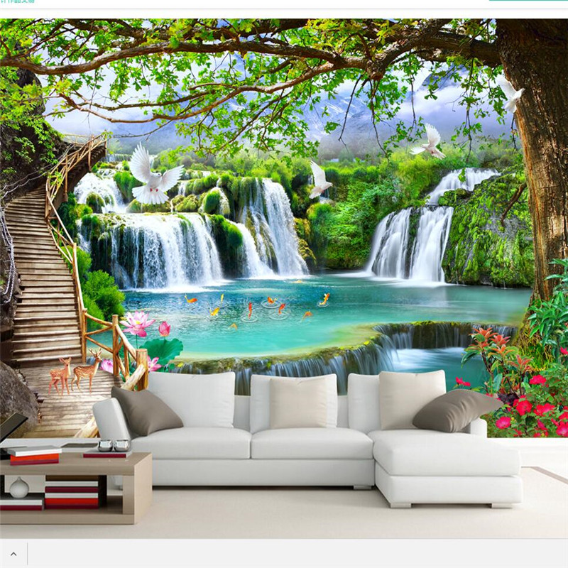 beibehang Custom wallpaper 3d Photo mural Simple Leisure Green Tree Forest Waterfall Landscape Tooling Wallpaper papel de parede