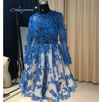 Royal Blue Long Sleeves Short Cocktail Dress 2017 Knee Length Sheer Cocktail Dress Party Vestidos Curtos De Renda Para Festa K04