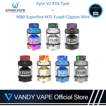 Original Vandyvape Kylin V2 RTA Tank With Ni80 Superfine MTL Fused Clapton Wire E-Cigarette Single or Dual Coil For Vape MOD(China)