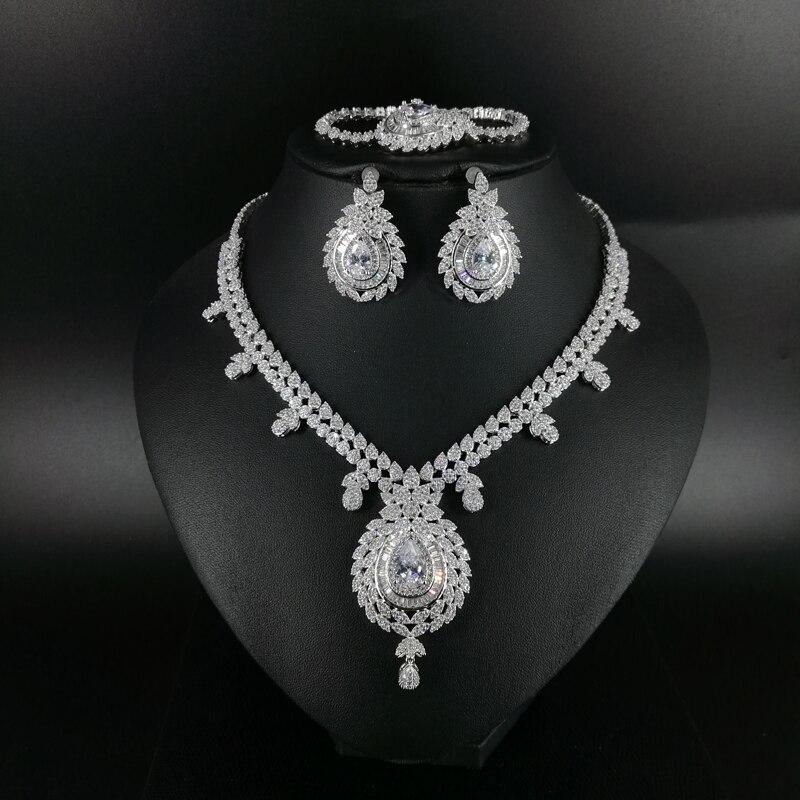 Новое модное винтажное циркониевое колье, серьги, браслет, кольцо для свадьбы, банкета, обеда, украшения
