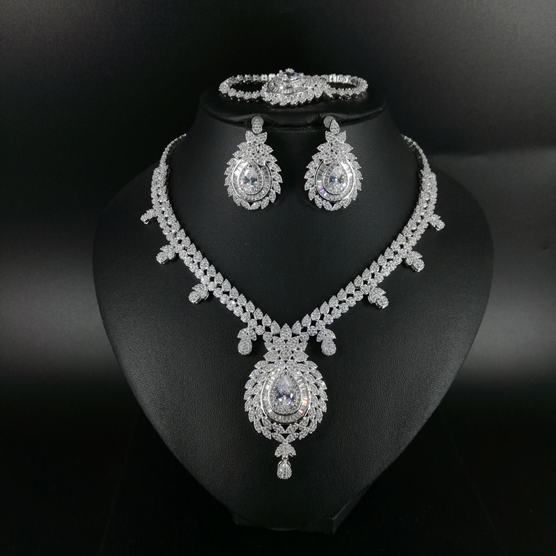 NEW FASHION luxury vintage crystal CZ zircon necklace earring bracelet ring wedding bridal banquet dinner dressing jewelry setNEW FASHION luxury vintage crystal CZ zircon necklace earring bracelet ring wedding bridal banquet dinner dressing jewelry set