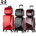 Wenjie brothernew 2 UNIDS/SET shinning 14 pulgadas + 20 pulgadas bolsa de Cosméticos hombres y mujeres caja de la carretilla del equipaje del Viaje mujer maleta con ruedas