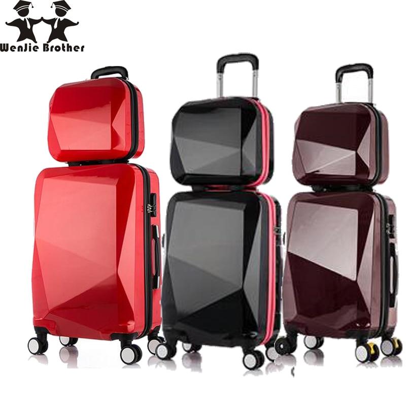 wenjie brothernew 2PCS / SET shinning 14inch + 20inch Kosmetisk taske mænd og kvinder trolley sag Rejse bagage kvinde rullende kuffert