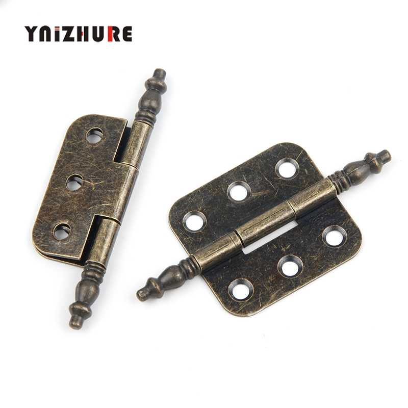 YNIZHURE 70*35mm 2PCS Antique Bronze Crown Head Hinge 6 Holes Jewelry Gift Box Decorative Hinge Cabinet Furniture Accessories