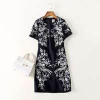 New 2017 Spring Summer Fashion Women Short Sleeve Office Dress Vintage Floral Birds Embroidery High Quality