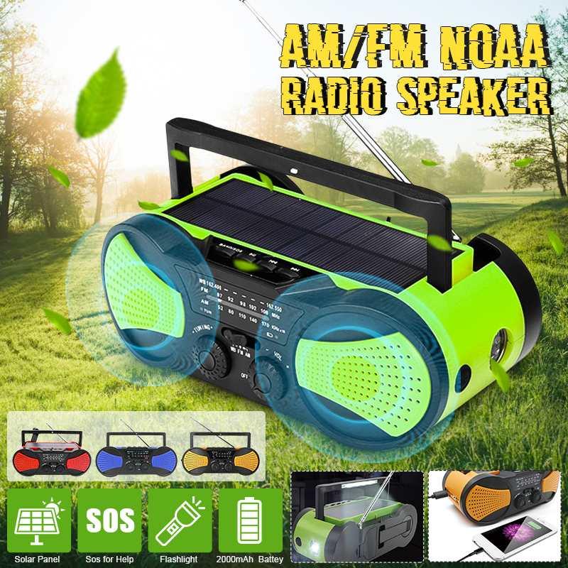 Manivelle portative solaire de chargeur portatif de secours de manivelle de WB de puissance Radio auto-alimentée par temps d'am/FM 2000 mAh Rechargeable