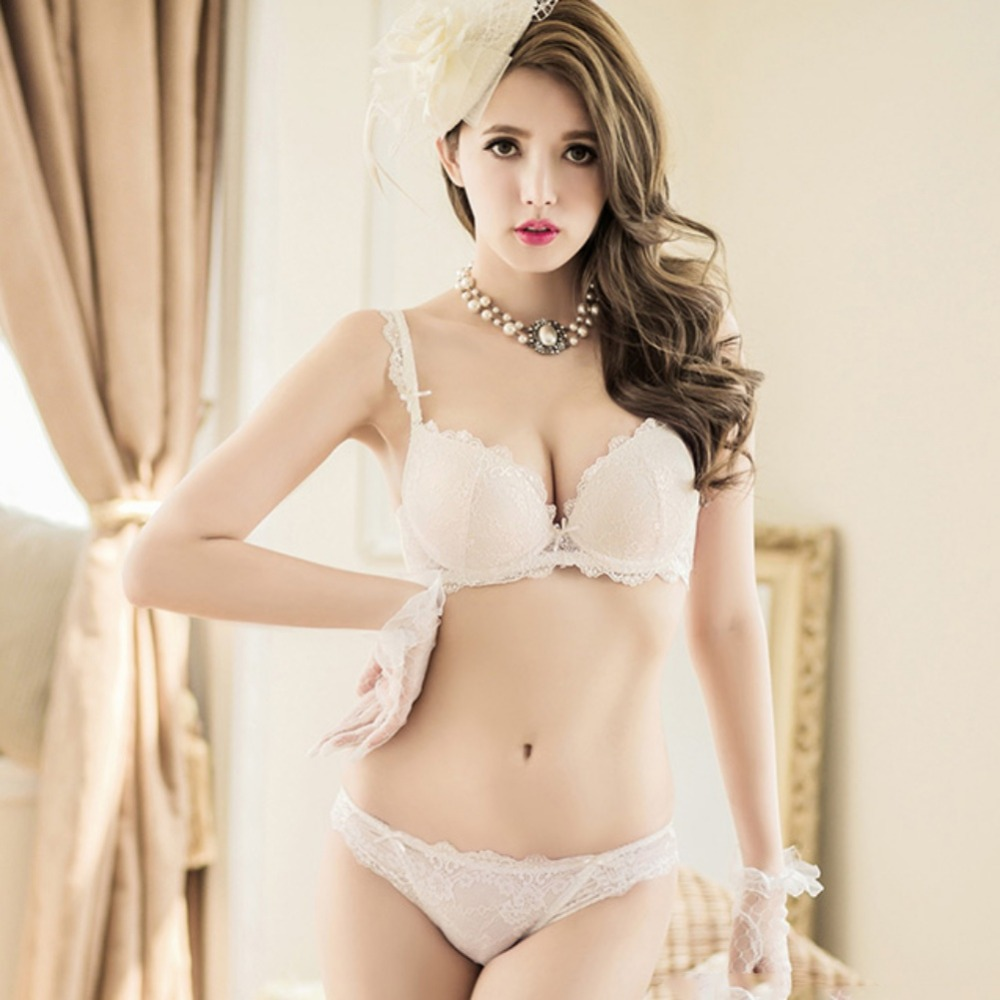 aa31584f2d82 New Women Cute Sexy Underwear Deep V Lace Embroidery Bra Sets Plunge Bra +  Panty Size 32 36 B-in Bra & Brief Sets from Underwear & Sleepwears on ...