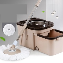 Stainless steel double drive rotary mop mopping bucket household free hand wash automatic dry tow